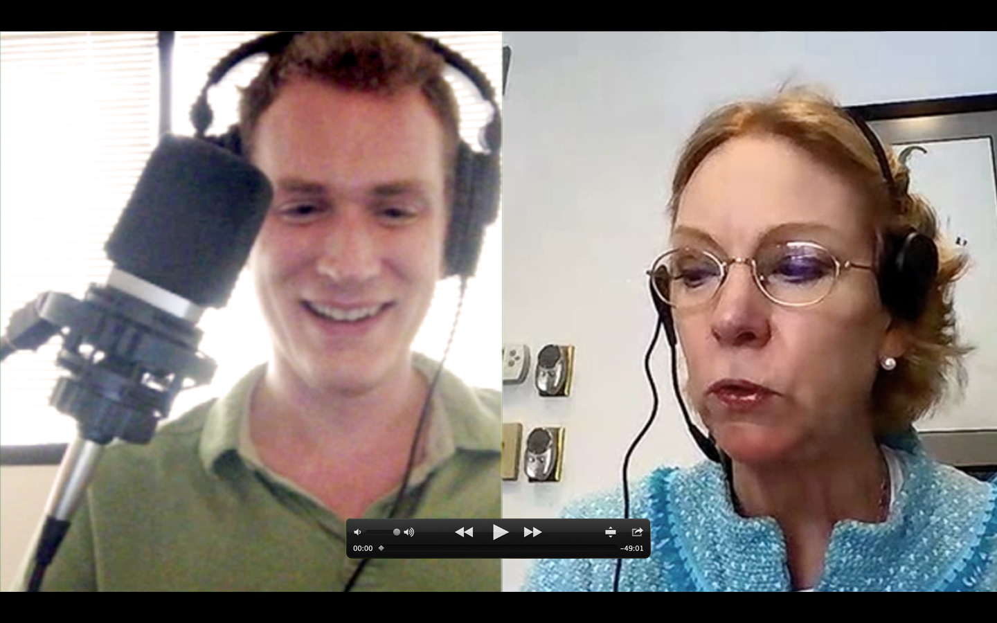 Photo of Karl Boehm and Merrie Spaeth (from left to right) recording Spiral Marketing podcast from respective studios.
